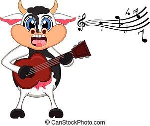 guitarra, juego, vaca, caricatura