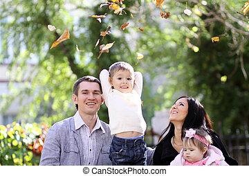 Autumn - family in autumn park