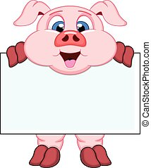 Pig with white board - colourfull