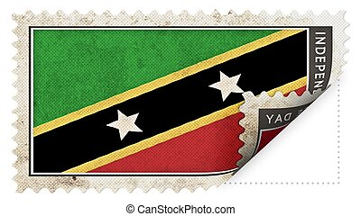 st kitts & nevis flag on stamp independence day be ajar