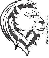 Heraldic Lion Head Vector Silhouett - A vector image of a...