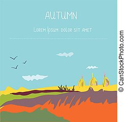 Autumn landscape countryside background - design for the...