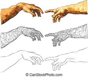 The Creation of Adam - Michelangelos near-touching hands of...