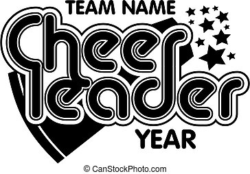 cheerleader team design with megaphone and stars