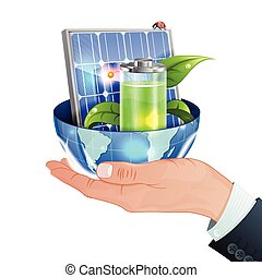 Green Energy Concept - Hand with Solar Panel, Young Green...