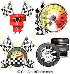 Racing Concepts - 4 Racing Concepts with Speedometer, Flags,...