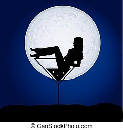 girl in martini on a moonlight vector