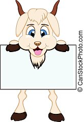 Goat with white board - colourfull