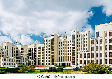 White Government Parliament Building - National Assembly of Belarus - on Independence Square in Minsk, Belarus.