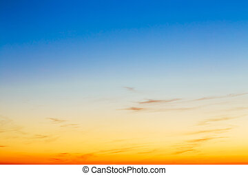 Sky, Bright Blue, Orange And Yellow Colors Sunset. Instant Photo