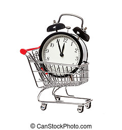 Buying time - A shopping cart with an alarm clock that shows...