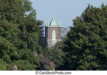 Church steeple seen through a gap in the trees