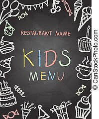 Desserts menu on chalk Board for children's parties, vector...