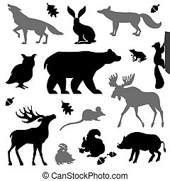 Animals living in european forest. Vector icon set of...