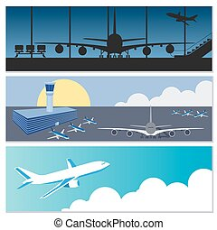 Set of flying airplanes banners
