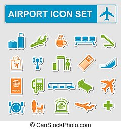 Airport, air travel icon set Vector illustration