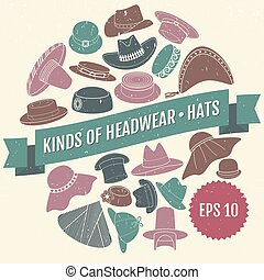 Kinds of headwear Hats Eps 10 - Set of vector flat hats with...