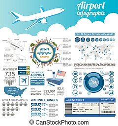 Airport, air travel infographic with design elements...