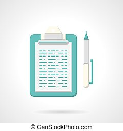 Blue clipboard with pen flat vector icon