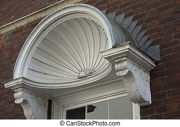 Shell Canopy over Door - White shell scalloped canopy over...