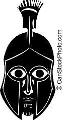 Hoplite In Greek Helmet - Woodcut style classical spartan...