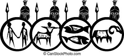 Spartan Phalanx - Woodcut style classical spartan Grecian...