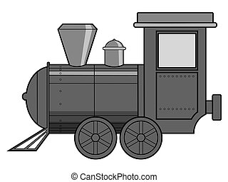 steam train - vector illustration of steam train, vintage...