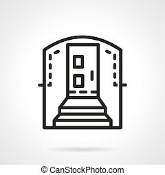 Housing entrance simple line vector icon - Entrance with...