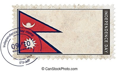 nepal flag on stamp independence day with date pump