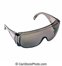 Grey safety glasses isolated on the white background