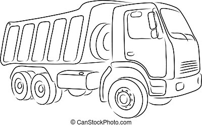 Outline of tipper, vector illustration - Isolated outline of...