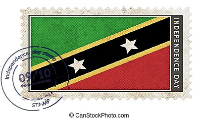 st kitts & nevis flag on stamp independence day with date...