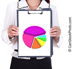 business woman holding a clipboard with business graph