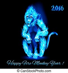 Fire Monkey in blue color. New Years Banner design on black