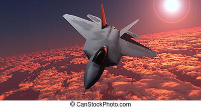 Sunset Fire F22 Fighter Jet