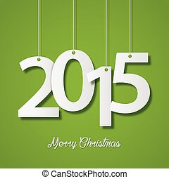 Happy new year 2015 creative greeting card design on green background