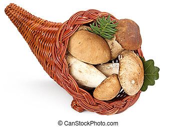 cornucopia filled with ceps isolated on white background