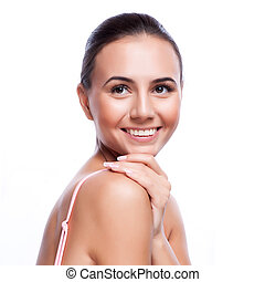 Fresh Healthy Skin - Beautiful Young Woman Touching Her...