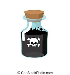 Poison. Bottle with a black liquid. Glass magic Bank with...