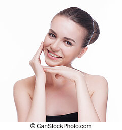 Beautiful face of young adult woman with clean fresh skin -...
