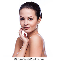 Fresh Healthy SkinIsolated on Whit - Beautiful Young Woman...