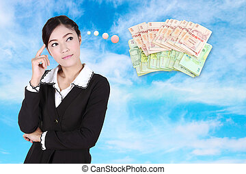 Business woman thinking about money with blue sky background