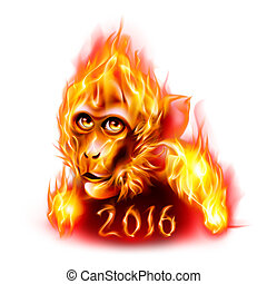 Fire Monkey - Head Of The Red Fire Monkey New Years Banner...
