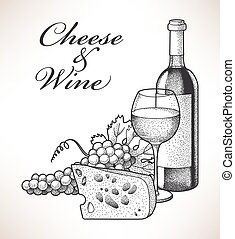 Cheese and wine - Hand drawn composition of wine, grape and...
