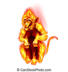 Fire Monkey - The Red Fire Monkey New Years Banner design on...