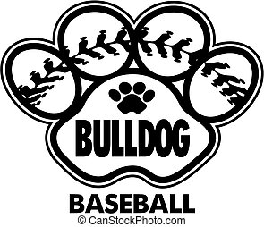 bulldog baseball design with stitches inside paw print
