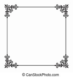 Vector Black Twirl Frame on White Background - Elegant...