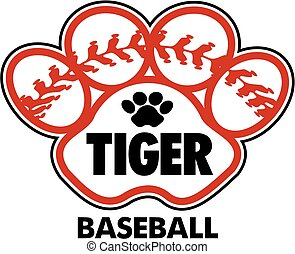 tiger baseball design with stitches inside paw print