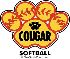 cougar softball design with stitches inside paw print
