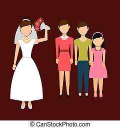 woman throwing wedding bouquet, vector illustration eps10...